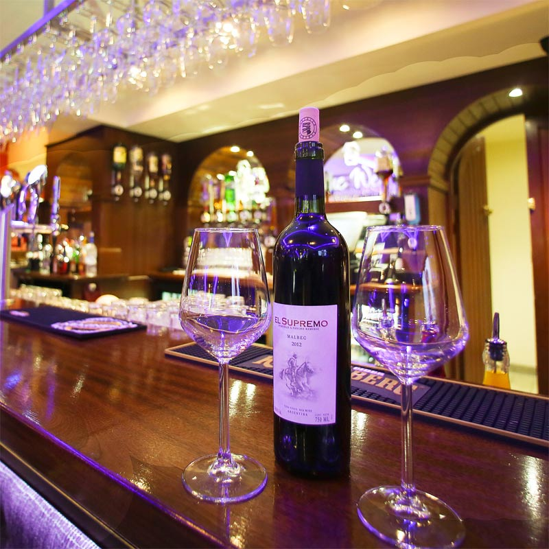 Extensive wine list at the Well Bar and Grill
